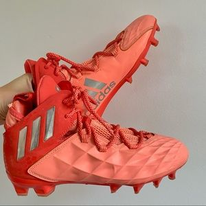 Adidas Neon Orange/ Coral & Silver Cleats Soccer